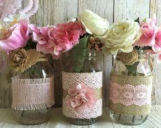 3 arpillera rosa y encaje cubiertos vasos tarro de masón, boda, despedida de soltera, babyshower
