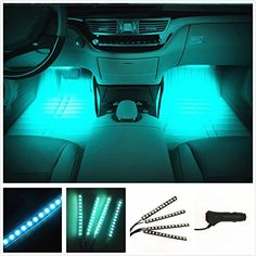 EJ's SUPERCAR Car Interior Atmosphere Neon Lights Strip for Car-Car styling Interior Dash Floor Foot Decoration Light Lamp Cigarette LED,Waterproof(Ice blue)