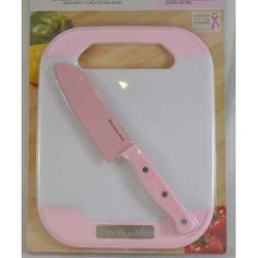 """KitchenAid """"Cook for the Cure"""" 2 Piece 5"""" Santoku Knife and 8"""" x 10"""" Cutting Board Set"""