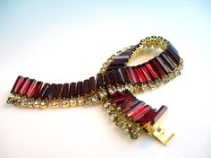 Rhinestone Bracelet Kramer of New York Ruby Red by bohemiantrading, $95.00