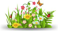 spring flower grass art background Spring flowers images Garden clipart Flower clipart
