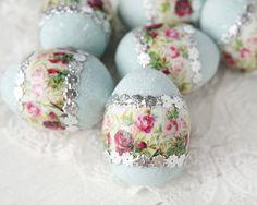 Floral Easter Egg  Blue Spun Cotton Egg by smilemercantile on Etsy