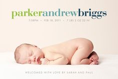 baby girl or boy custom photo birth announcement  by denadesign
