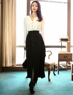 Women Celebrity Style Buckle Trim Two Tone Long Sleeve Dress - Item 698248 at Eastclothes.com