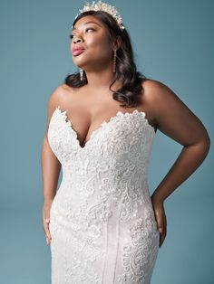 Maggie Sottero - ERIN LYNETTE Elegant Lace Plus Size Wedding Dress. Step out with geometric precision'this elegant lace plus-size sheath wedding dress features linear motifs to enhance a natural hourglass figure. Colored Wedding Dresses, Wedding Dress Styles, Dream Wedding Dresses, Designer Wedding Dresses, Bridal Dresses, Wedding Outfits, Wedding Dress With Pockets, Perfect Wedding Dress, Satin Mermaid Wedding Dress