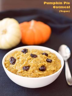 Warm, comforting Pumpkin Pie Oatmeal (dairy-free, gluten-free, vegan) - this fiber-rich, low-fat recipe has a unique hearty but creamy consistency and loads of fall flavor.