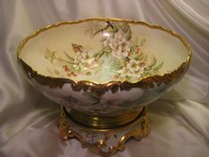 Rare Gorgeous Antique TV Limoges France Hand Painted Apple Blossoms from oldbeginningsantiques on Ruby Lane