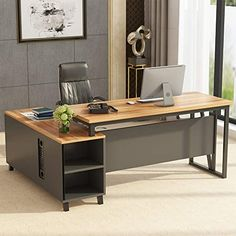★★★ Tribesigns Large L Shaped Desk, 55 Inches Executive Office Desk Computer Table Workstation with 47 Inches File Cabinet Storage, Brown ★★★ Whether engaged on your enterprise profession or simply want an area to writing your subsequent nice novel, this Large Office Desk, Large Computer Desk, L Shaped Office Desk, L Shaped Executive Desk, Executive Office Desk, Modern Office Desk, Office Table, Office Decor, Office Ideas