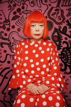 Louis Vuitton and Yayoi Kusama  Love the hair & dress combo!  Plus that serene mien.
