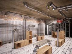 Shop design: Temporary Shop/Firenze  A most stunning, simple pop-up décor in an unexpected yet common industrial space- Florence, Italy