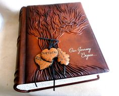 Personalized Photo Album Brown Rustic Leather Tree by Leatherdust
