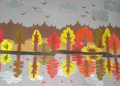 Осенний пейзаж «Отражение» (аппликация,  коллективная работа старших дошкольников)