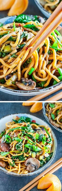 Take-out inspired Spinach Mushroom Leek Long Life Noodles - tossed in the most amazing homemade sesame sauce. Pair with your favorite protein, or enjoy all on it's own as a tasty vegan/vegetarian main or side!