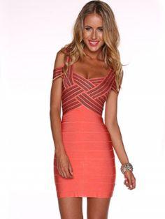 Vestido Bandage Color Coral VB051 - Vestidos Bandage - Vestidos Online
