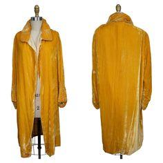 1920s Yellow Velvet Evening Coat