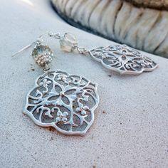 Silver Chandelier Earrings  Wedding Jewelry Bohemian by LunarBelle