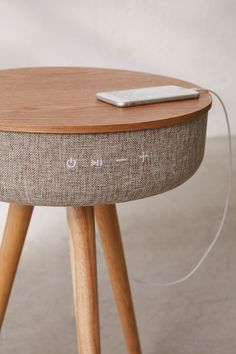 Product Of The Week: Smart Table With Built in Bluetooth Speaker & Wireless Qi Charger Speaker Table, Room Speakers, Small Speakers, Built In Speakers, Diy Bluetooth Speaker, Bluetooth Gadgets, Smart Table, Urban Outfitters, Modern Tech