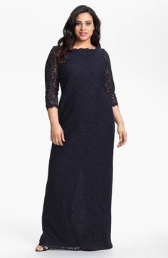 Adrianna Papell Scalloped Lace Gown (Plus Size) | Nordstrom