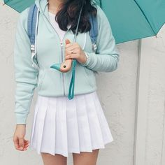 @_yu.jung ☔️Instagram photo | american apparel white tennis skirt, mint green jacket and duck umbrella