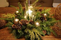DIY Project Parade and DIY Holiday Centerpieces for winter Christmas Arrangements, Holiday Centerpieces, Christmas Tablescapes, Xmas Decorations, Centerpiece Ideas, Christmas Centrepieces, Table Centerpieces, Graduation Centerpiece, Greenery Centerpiece