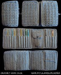 Crochet case OBabyNMore on ravelry modified a basic crochet hook case pattern into this wonderful design Ravelry: Project Gallery for Aluminum Crochet Hook Case pattern by Priscilla Hewitt - tri-fold crochet hook case. Crochet hook case - pretty much can Crochet Tools, Crochet Diy, Love Crochet, Filet Crochet, Crochet Gifts, Crochet Projects, Learn Crochet, Crochet Hook Case, Crochet Needles