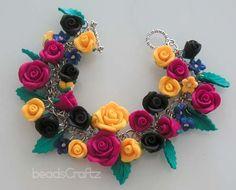 Spanish Rose Garden Bracelet  Polymer Clay by beadscraftz on Etsy, $100.00