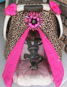Car seat canopy Cheetah and hot pink by SooShabbyChic on Etsy, $35.99