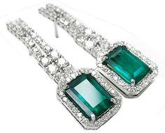 Natural emerald earrings
