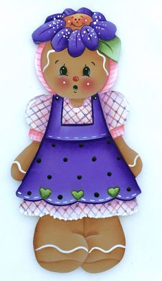HP GINGERBREAD FRIDGE MAGNET purple flower