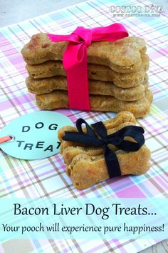Do you wonder if the treats we give our four legged friends are good for them? It seems the ingredients are more about low cost instead of what is healthy for the dog. Even when I started searching for recipes to make some treats for my Chesapeake, I was shocked how many were full of sugar and stuff that isn't the best for dogs. So I improvised and came up with one based on bacon and liver, which is surprising because the smell of liver makes me gag! But Maya drools like crazy for these…