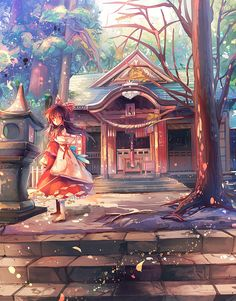 """The Hakurei Shrine"" Touhou Project fanart by kirero #Touhou Project #anime"