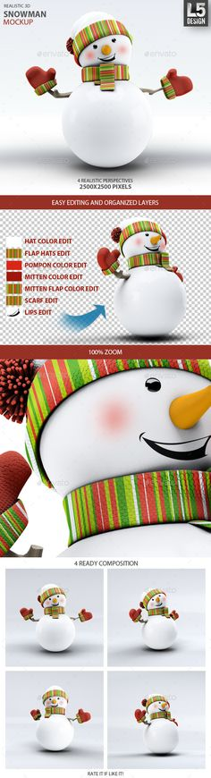 Snowman MockUp — Photoshop PSD #sphere #background • Available here → https://graphicriver.net/item/snowman-mockup/9878988?ref=pxcr