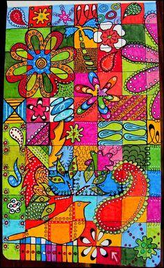Draw Doodle and Decorate: Doodles on Display : à faire en puzzle pour le printemps (j'adore l'idée de rajouter ensuite des points blancs et des traits noirs !)