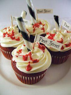 Sweeney Todd Demon Barber of Fleet Street cupcakes--great idea for a Halloween party or horror movie marathon.