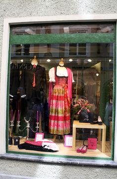 An Austrian shop window with Dirndl and traditional clothing in Salzburg. #feelaustria
