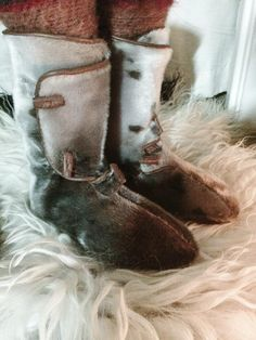 Viking boots of seal fur hide by Toril Sørbøe Rojahn of Oslo Norway.