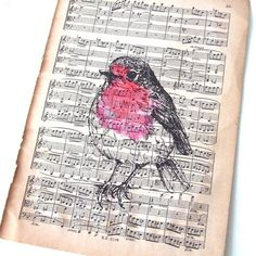 Pen, ink, and watercolor on vintage music prints. Birds
