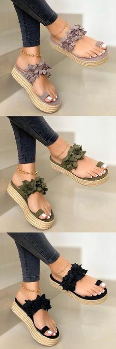 Women Casual Daily Flower Slip On Platform Sandals Cute Sandals, Cute Shoes, Me Too Shoes, Unique Shoes, Suede Heels, Slip, Beautiful Shoes, Shoe Boots, Women's Shoes