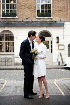 If I elope....60's Style White Valentino Short Wedding Dress with Scalloped Hem and White Wrap Coat with Navy Heels