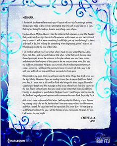 ash's letter to meghan-the iron fey series