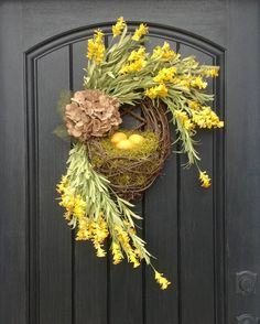 Spring Wreath Summer Wreath Kitchen by AnExtraordinaryGift on Etsy Thanksgiving Wreaths, Easter Wreaths, Holiday Wreaths, Boxwood Wreath, Diy Wreath, Summer Wreath, Spring Wreaths, Outdoor Wreaths, Valentine Day Wreaths