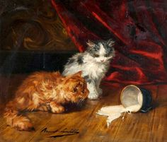 Alfred Arthur de Brunel de Neuville  Kittens and a Cup of Spilled Milk  19th century