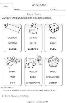 Alfabetização / Marcar / Pintar Letra ou Palavra As atividades de percepção e discriminação visual auxiliam no processo inicial de...