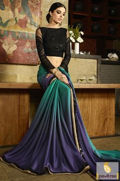 Green and Blue Color Pure Satin Shaded Saree for Party