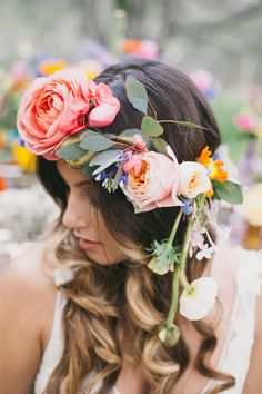 boho floral crown - photo by Alexandra Wallace http://ruffledblog.com/bohemian-garden-wedding-with-color