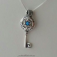 Key to my Heart necklace with center round opal stone. Metal stamped wording ani l'dodi v'dodi
