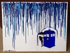 Tardis in crayon rain amazing piece of art you could do by yourself really easy and perfect for a geeky room design