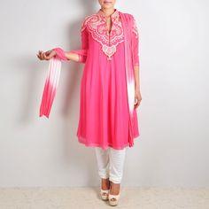 Rosy Pink Anarkali Suit with Embellished Yoke