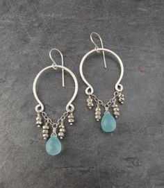 Caribbean Waters  Aqua Chalcedony Hoop Earrings w. by TheGemGypsy