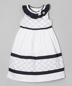 Take a look at this White & Navy Lattice Rosette Dress - Toddler & Girls on zulily today!